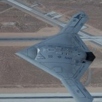 The X-47B files over Edwards Air Force Base during a routine test in fall 2011.